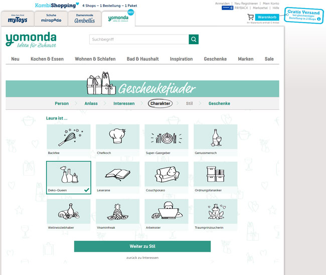 Gift Finder Yomonda